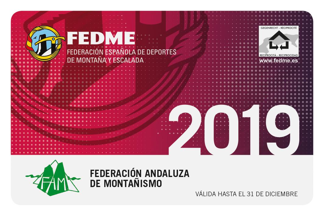 Licencia FEDME 2019 andalucia
